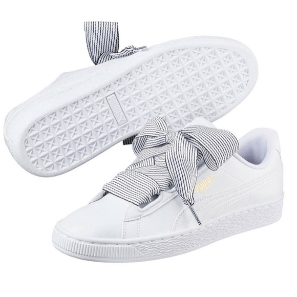 5b90987c1fcd6d Puma Basket Heart Sneakers Ribbon Laces NWB 8.5